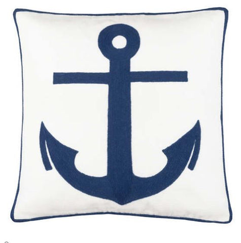 navy anchor pillow with white background