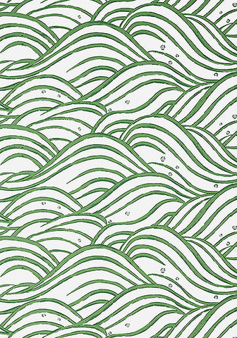 Whimsy Wave Wallpaper in Green