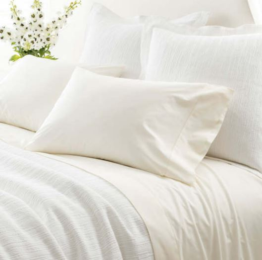 rudy hemstitch sheet set featured in ivory