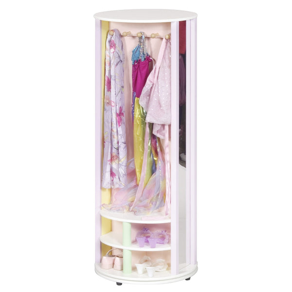 pastel dress up carousel shown with dresses hanging