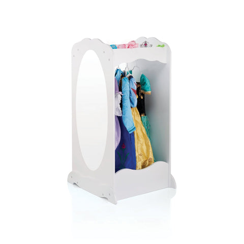 white dress up cubby shown with mirror and dresses hanging up