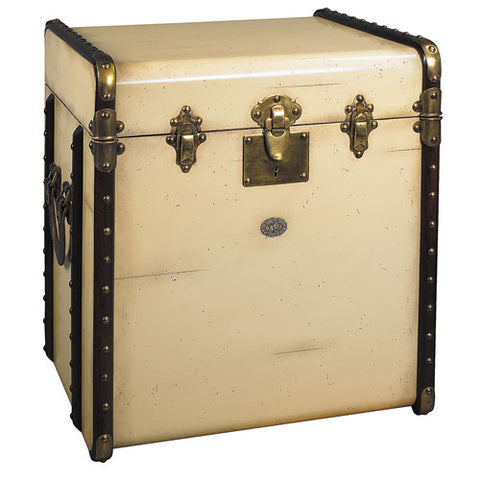 trunk end table shown in ivory with brass hardware