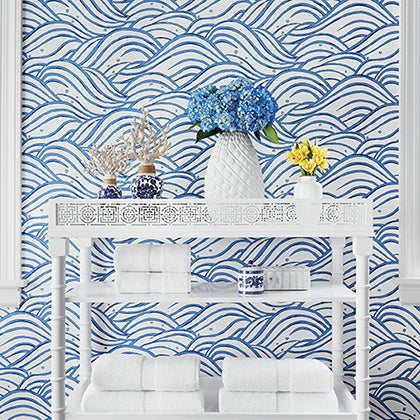 Whimsy Wave Wallpaper in Blue