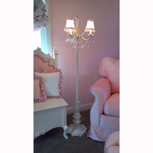 paris floor lamp shown in off white with three white shades with pink and clear jewels