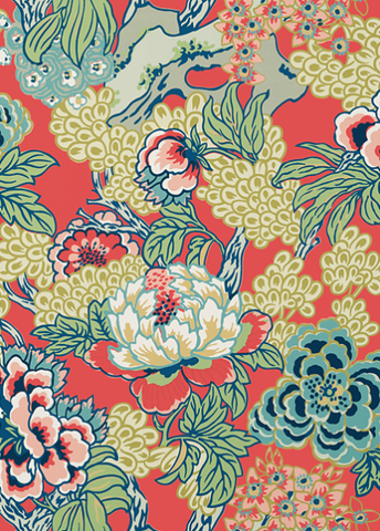 Ohana Wallpaper in Coral & Green