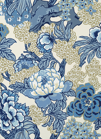 Ohana Wallpaper in Blue & Beige