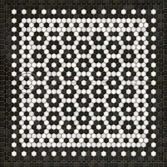 Classic Black & White Vinyl Floor Cloth