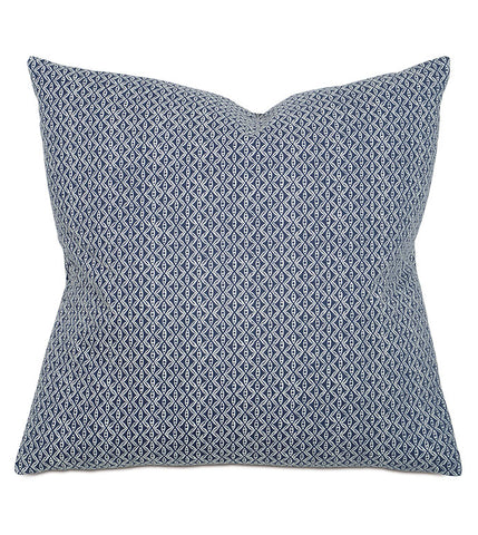 close up of natalie pillow II showing tiny blue pattern on navy background