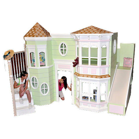 tresa's playhouse bunk bed is shown in a pastel green with pink accents with slide on right showing a victorian style  house