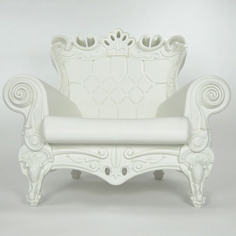 trudy chair in white with a european whimsical look made with polyethylene