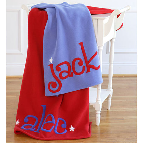 jack personalized with blue writing and blue blanket personalized with red writing