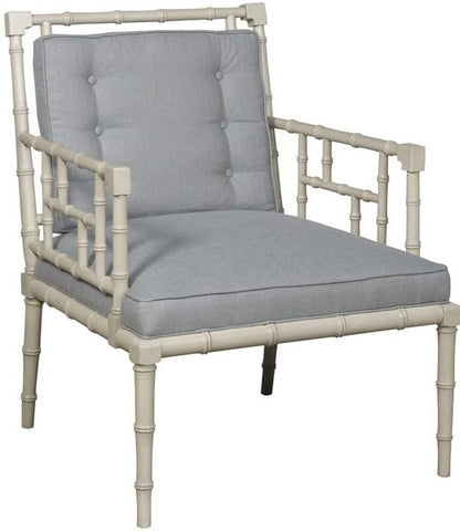 serenity chair shown here in a gray finish with a cloud blue fabric