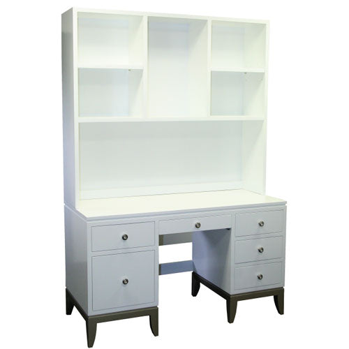 camilia desk shown in white with optional hutch, six drawers are offered