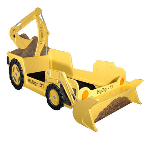 yellow digger twin bed shows a construction digger truck in yellow