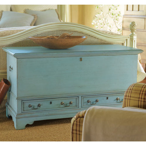 blanket chest with two drawers below shown in blue