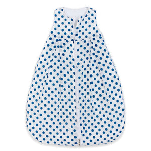 dotty sleep sack shows front view full zipper down the middle with blue polka dot on white background