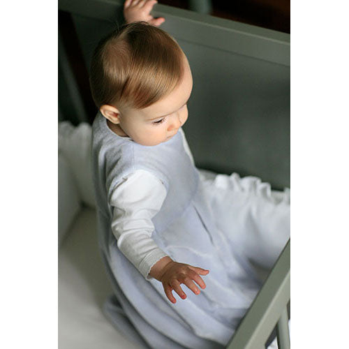 sleep sack shown on baby in blue velvet