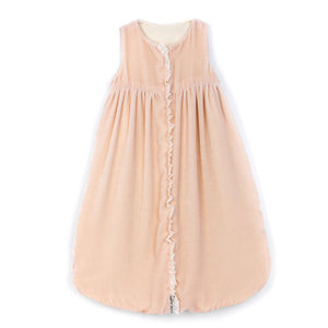 nicole sleep sack shown in blush velvet with full front zipper