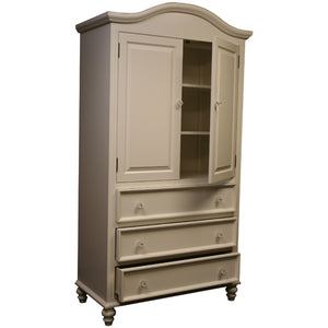 mary claire shown in swiss coffee with bonnet style crown molding with three drawers with glass knobs