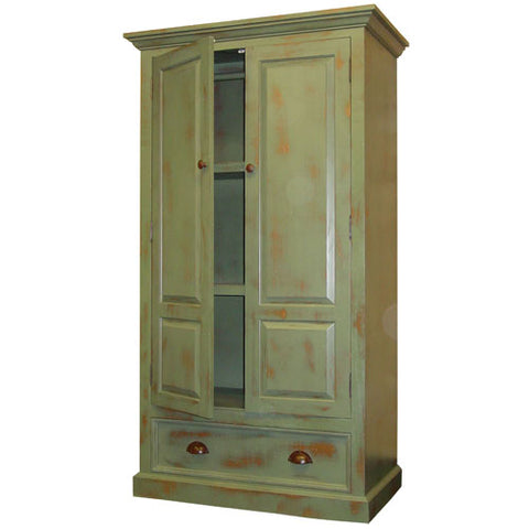 cameron armoire with two double doors with one drawer below in green artichoke finish
