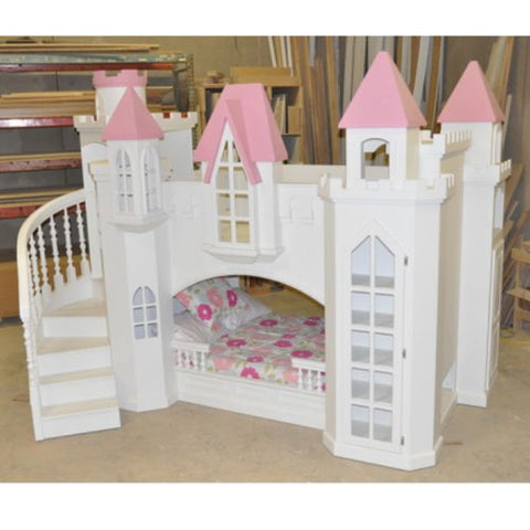 lucille playhouse shown in white with pink accented turrets with steps on the left and shelving on the right, twin bed at bottom and twin at the top
