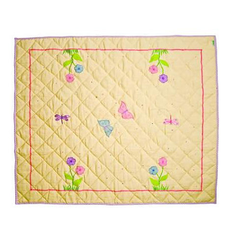 yellow butterfly floor quilt with accents of purple, pink and green