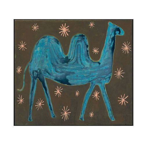 "alice the camel is a blue camel on a brown background with whimsical stars painted on a wood panel 35"" x 24"""