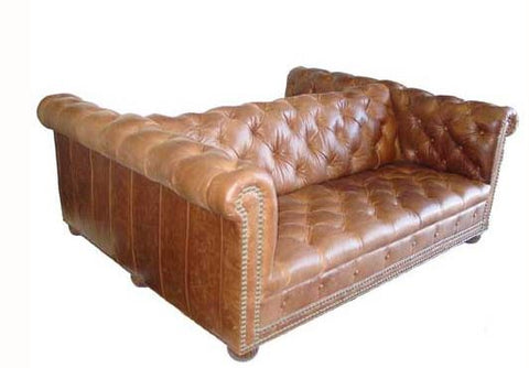 cavalier leather double sofa tufted with buttons and nail heads