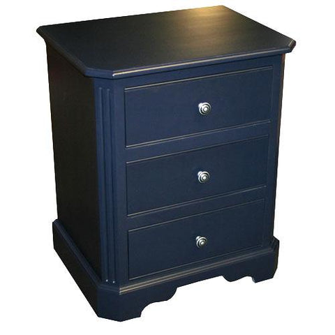 tate nightstand with three drawers satin knobs in navy blue