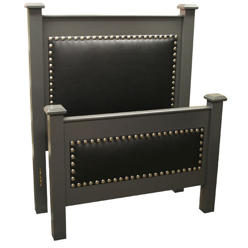 tate upholstered bed shown with black upholstered faux leather with silver nailheads and gray finish