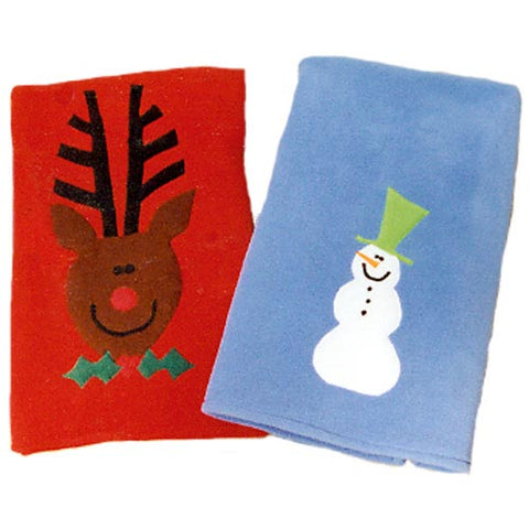 reindeer on red fleece blanket on left and snowman on blue fleece blanket shown on right