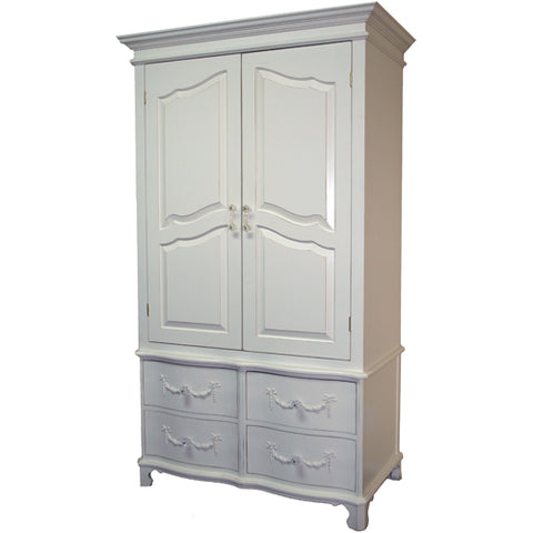 eloise armoire shown in swiss coffee with two large drawers with four drawers below for added storage