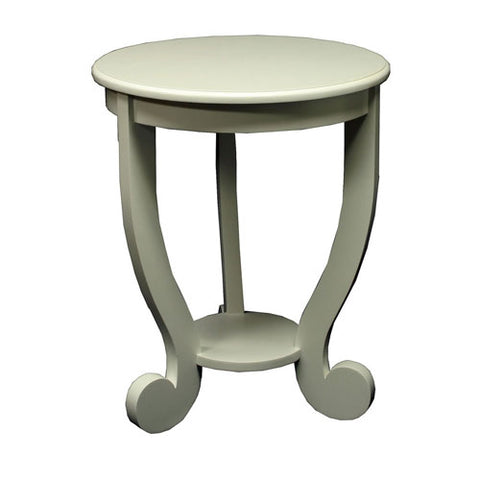 lulu accent table with circle top and whimsy piano note feet shown in cream