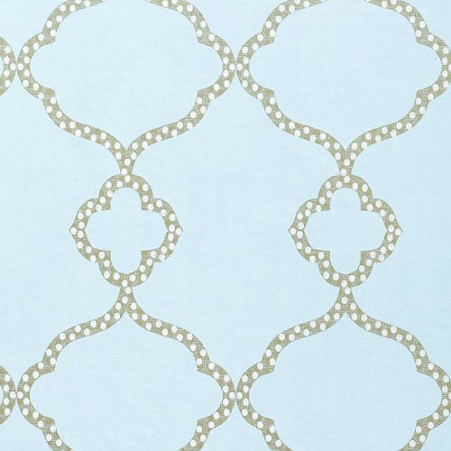 close up of gabby wallpaper in light blue