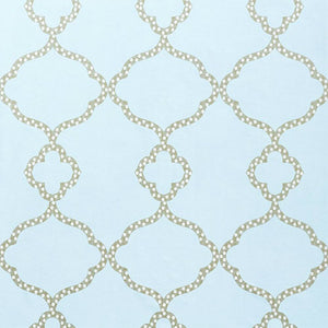 gabby wallpaper pattern shown in light blue with distinct pattern of larger oval with circles connected below repeating