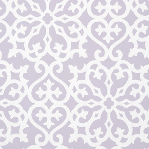 close up of alexandra wallpaper in lilac with white print over lilac background