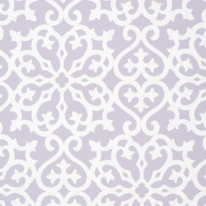 alexandra wallpaper in lilac with white print over lilac background