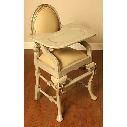 distressed sage high chair shown at an angle