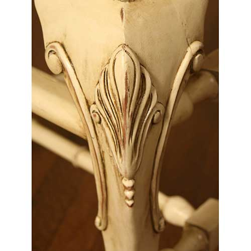 distressed sage handcarved leg shown