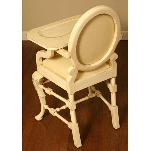 distressed ivory oval high chair showing back of chair