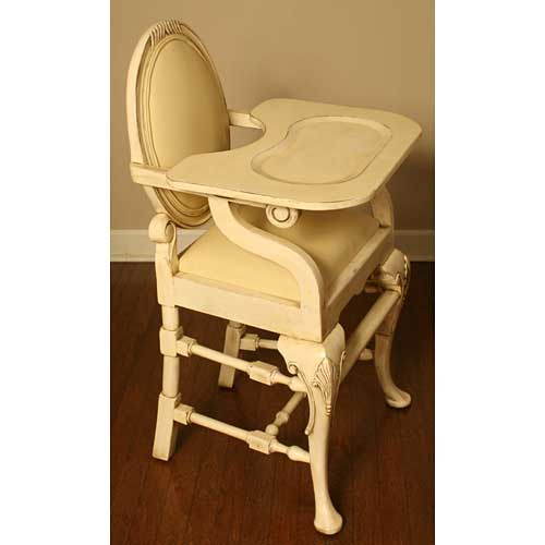 distressed ivory high chair shown at a side profile