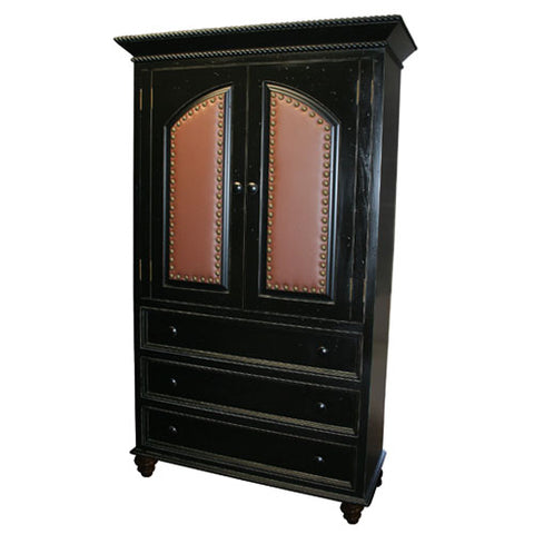 quinn armoire shown in black finish with brown leather upholstered panels with brass nail heads with two doors and three drawers below