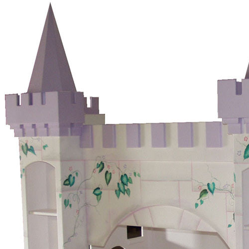 close up of leah's lilac castle tower showing handpainting of green vine and stone masonary