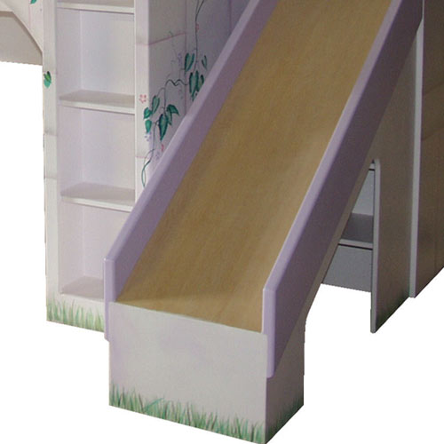 close up of leah's lilac castle slide on the right