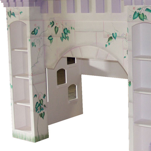 close up of leah's lilac castle handpainting and bookshelves and foot holes that can be added