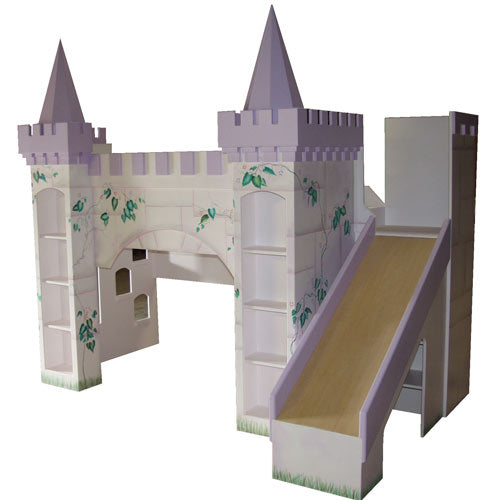 leah's lilac castle bunkbed shown in white and lavender with castle towers and with bookshelves and slide to the right