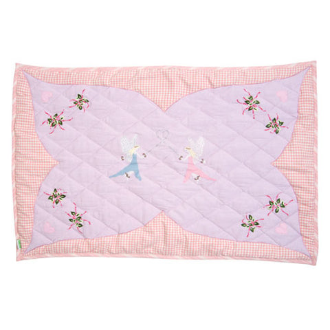 fairy garden floor quilt bordered featuring fairies in rectangle with pink and white gingham