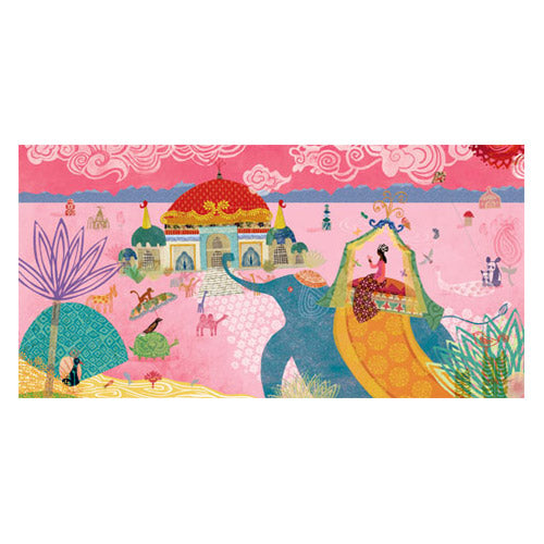 travelling princess canvas set on a pink background with a blue elephant carrying a princess and purple palm tree