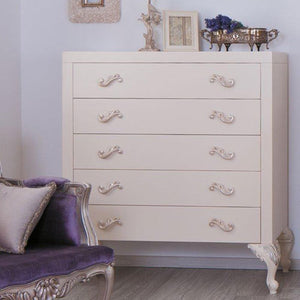 chelsea five drawer chest shown in white with silver patina hand carved feet