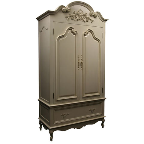 sofia armoire shown with vine applied applique at the very top with sculpted with curved crown molding at the top with two doors and one drawer below shown in a cream finish